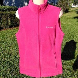 Womens Pink Columbia Sleeveless Fleece Vest Med.